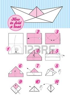 Step by step instruction of paper folding How to make an Japanese origami traditional boat