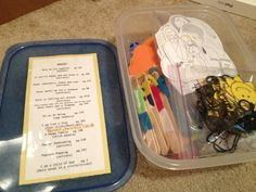 Nursery Singing Time...I like how she lists the songs on the container lid.  (The Chorister's Corner)