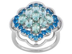 2.40ctw Oval Madagascar Blue And 1.04ctw Round Madagascar Neon Apatite Sterling Silver Ring