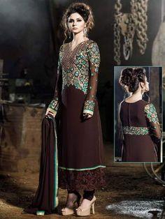 «Коричневое нарядное платье из креп-жоржета, украшенное вышивкой, вышивкой люрексом, скрученной шёлковой нитью