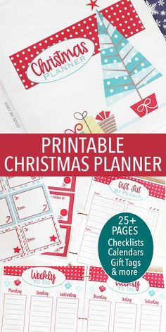 Printable Christmas Planner Organizer with over 25 planning pages! Checklists, To Do Lists, Wish List, Gift Giving Planners, Gift Tags, Letters to Santa, and so much more! Everything you need to get organized and enjoy the holidays.
