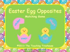 Kids will love practicing opposites/antonyms with the Easter Egg Opposites Matching Game! 24 pairs of opposite words/48 cards. $