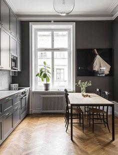25 Elegantly Stylish Grey Kitchen Decoration Ideas for Modern Home Farmhouse Kitchen Decor, Home Decor Kitchen, Kitchen Interior, Grey Kitchens, Home Kitchens, Gray Interior, Interior Design, Dark Grey Kitchen, Grey Kitchen Designs