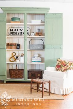Green and cream painted wardrobe cabinet with miss mustard seed milk paint