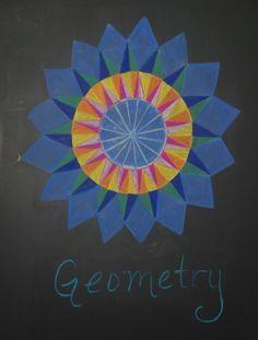 Waldorf ~ 5th grade ~ Geometry ~ Title Page ~ chalkboard drawing
