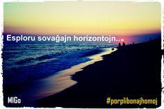 Esploru sovaĝajn horizontojn. #migo #gramatiko #akuzativo #dresi #esplori #horizonto #n-finaĵo #esperanto #movado #feliĉe Dr E, Beach, Water, Outdoor, Image, Gripe Water, Outdoors, Seaside, The Great Outdoors