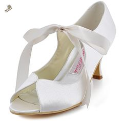 ElegantPark HP1611 Women s Peep Toe Mid Heel Mary Janes Ribbon Tie Satin  Wedding Bridal Pumps Shoes 68a43fd96e95