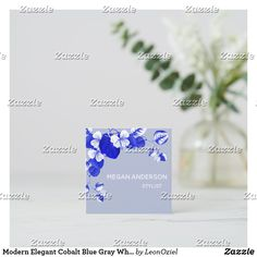 Shop Modern Elegant Cobalt Blue Gray White Chic Floral Square Business Card created by LeonOziel. Cobalt Blue, Blue Grey, Gray, White Chic, Business Cards, Party Favors, Card Stock, Stationery, Things To Come