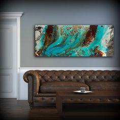 Aqua Print, Blue and Brown Wall Art Decor, Colourful, Bohemian Art, Modern Minimal Aqua Blue Teal Brown Horizontal Office Decor Gift for Him by ldawningscott. Explore more products on http://ldawningscott.etsy.com