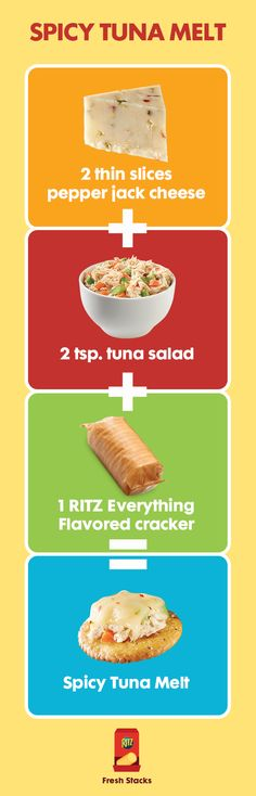 This spicy tuna melt on a RITZ uses tuna and pepperjack cheese for a kick of flavors in just three ingredients! Use RITZ Fresh Stacks and add the toppings to make this delicious snack.