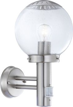 Globo E27 Bowle Ii IP44 Stainless Steel Outdoor Sensor Wall Light, Silver ** Want additional info? Click on the image. #GardenDecor
