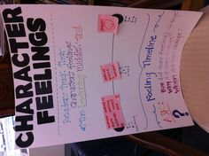 "My first pin of a poster I made! :)   Character Feelings: Track feelings throughout a story using a ""feeling timeline"" (post-it notes) Reading Workshop"