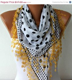 Polka Dot  Scarf   Cotton Scarves  Cowl with  Lace by fatwoman, $15.30