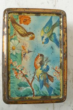 French vintage tin box