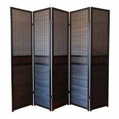 Scheidingswand Kamerscherm Roomdivider Zwart Hout 5 panelen