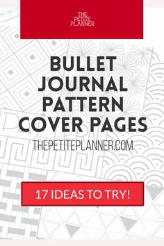 Cover Page Ideas for Bullet Journaling. Patterns to draw to use for bullet journal cover pages or empty pages in your journal! Adapt them to use them as borders and dividers in your bujo! These are great practice for beginners!