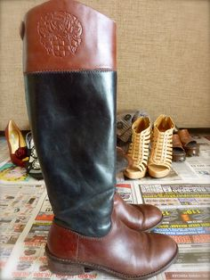 vince camuto two-toned riding boots