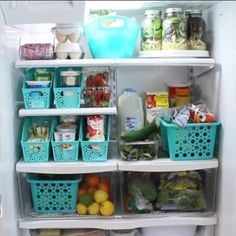 "Doitonadime on Instagram: ""We don\'t keep a perfect fridge, just one that works for us.  I love using #dollartree baskets and paper files as organizers and placemats…"""