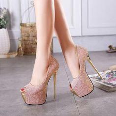 Shinning Peep Toe Platform Super High Stiletto Heels Sandals