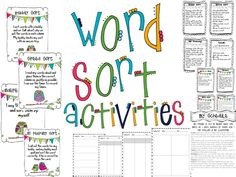 the tattooed teacher: Wishlist Wednesday Word Sorts! The Words, Words Their Way Sorts, Word Sorts, Word Work Activities, Spelling Activities, Sorting Activities, Spelling Games, Reading Activities, Grade Spelling