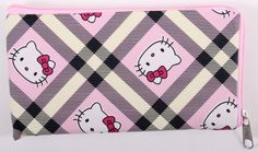 CUTE HELLO KITTY SMALL WALLET CASE WITH ZIPPER LIGHT PINK & YELLOW PLAID BNIB