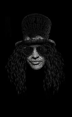 Typography Portrait of Slash. Made with Photoshop and Maya.