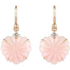 Irene Neuwirth Women's Heart-Drop Earrings ($7,610) ❤ liked on Polyvore featuring jewelry, earrings, pink, claw earrings, white gold heart shaped earrings, sparkly earrings, 18k earrings and pink earrings