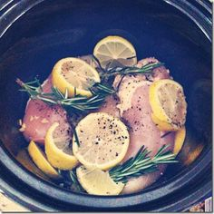 Lemon Rosemary Crockpot Chicken.. Wow talk about easy and healthy