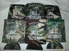 Camo Wedding Koozies the Hunt Is Over - Some #wedding inspiration