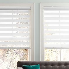 The elegant Real Simple Sheer Layered Shade offers privacy when closed, beautifully filters light while open and still provides UV protection. The shade also provides a clean look when completely open and rolls up into the head rail.