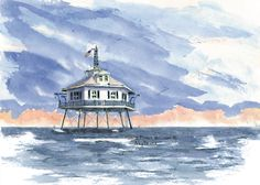 Mobile Bay Middle Light, Mobile, Alabama  Watercolor prints and note cards of over 250 lighthouses all over the USA.  Start your collection today. Original paintings by sailor/artist  Alfred La Banca, Darien, CT