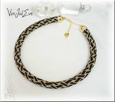 collier spirale crochet noir or1