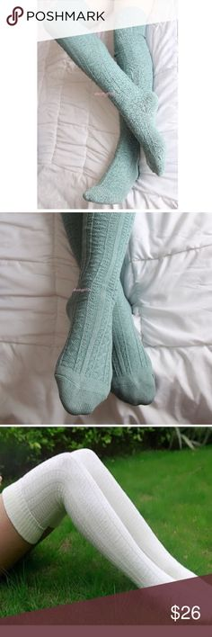 Long Knit Over The Knee Thigh High Socks Boot Tall Long blue knit over the knee socks. New with tags. Not Free People brand, just had to pick brand. Free People Accessories Hosiery & Socks