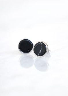 Onyx Round Stone Earring - SILVER Stone Earrings, Silver Earrings, Jewellery, Jewels, Jewelry Shop, Schmuck, Jewelery