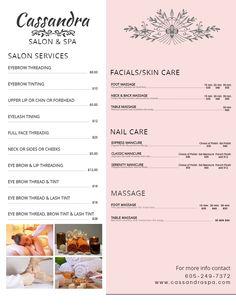 Copy of Elegant Beauty & Spa Price List Flyer Template List Template, Templates, Salon Price List, Spa Prices, Spa Menu, Salon Services, Spa Design, Beauty Spa, Business Flyers