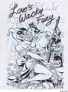 the Joker and Harley Quinn black and white by Bruce Timm