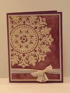 Stampin Up's medallion stamp---looks like it may have been stamped with bleach on cajun craze cardstock....need to copy soon!
