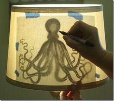 cheap way to decorate a lampshade.  Tape the picture you want to the inside of the lampshade and trace it on the outside.