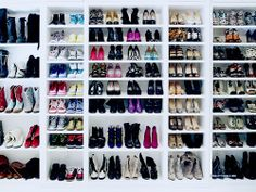 Huge shoe rack that has shelves at different heights so you can have boots or smaller shoes.