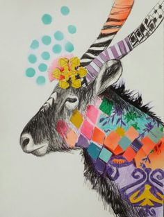 Australian modern artist Emma Gale mixes textures of crayons, pencils, feathers and fabric trim to create vibrant, rich, colourful and mesmerising collages. Collage Artists, Collages, Animal Paintings, Animal Drawings, Collage Drawing, Australian Art, Pattern Illustration, Art Club, Illustrators