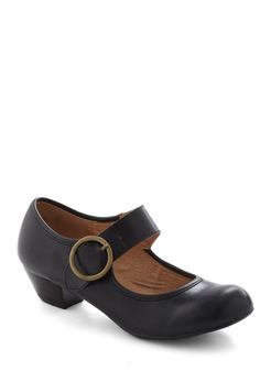 Few Steps Forward Heel in Black by Chelsea Crew - Black, Solid, Vintage Inspired, 20s, 30s, Low, Leather, Buckles, Work, Faux Leather, Mary Jane