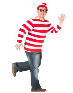 Where's Waldo Adult Mens Plus Size Costume at Spirit Halloween - Make everyone pick you out of the crowd when you wear the officially licensed Where's Waldo Adult Men's Plus Size Costume. This red and white stripe long sleeve shirt comes complete with a matching hat and Waldo glasses. Get this classic for $39.99