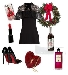 """Christmas party 🍷"" by zugue on Polyvore featuring мода, Yves Saint Laurent, Christian Louboutin, Giorgio Armani, Casetify, Improvements, self-portrait и Serge Lutens"