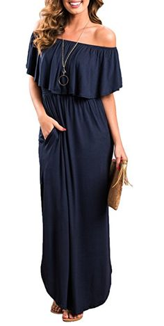 Oyanus Womens Off The Shoulder Ruffles Pockets Dress Side Split Maxi Dresses Navy M