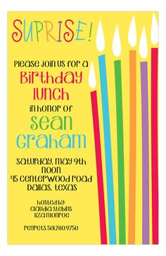 It's time to celebrate and get a little sneaky, because you are planning a surprise birthday party! Everyone should throw a surprise birthday party at least once it their life, so be sure to get the best online birthday invitations you can find. The Rainbow Candles Surprise Party Invitations by SanLori Digital Designs, is a festive, colorful, and fun design that will get everyone excited to keep a secret and attend the event.