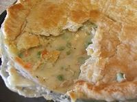 The Pioneer Woman - Chicken Pot Pie, I just used tarragon, rosemary, thyme and marjarom and no celery - frozen corn and canned baby peas. For crust 2 cups bisquick, 1 1/2 sticks softened butter and 1 cup ice water. Very good!