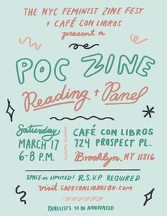 "ZINES en Twitter: ""POC #Zine Reading + Panel on March 17th in #Brooklyn, NY, USA - hosted by @cafeconlibrosbk and @fzfnyc ✨✨✨… """