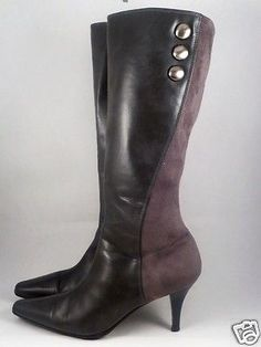 High-Boots-Fashion-Zip-Up-Womens-Size-11-Gray-Heels-3-034-Pointed-Toes-Buttons