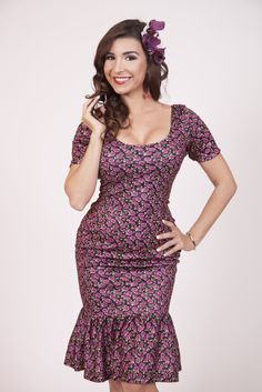 Bettie Page Clothing wiggle dress with trumpet hem, $78. I LOVE the shape. The print makes me sad.