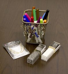 Beaded Pencil Cup - DIY Office Supplies #CousinCorp